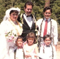 'In 1988 I married Dorinda....' Our wedding in Lake Tahoe, with all the kids. [circa 1988]
